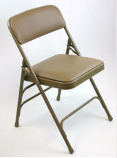 metal folding chair, vinyl upholstered for schools, church, office, or event seating