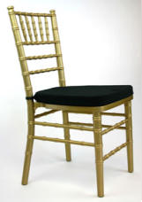 stacking chiavari chair, gold with cushion perfect for banquets and other events
