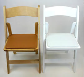 wood folding wedding chair, natural & white