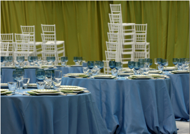 stacking chiavari chairs in banquet room